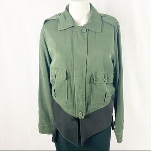 BB Dakota Collective green and leather jacket M